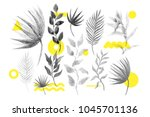 Universal trend halftone floral set juxtaposed with bright bold geometric leaves foliage yellow elements composition. Design elements for Magazine, leaflet, billboard, sale   Shutterstock vector #1045701136