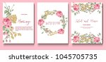 set of cards with flowers roses ... | Shutterstock .eps vector #1045705735