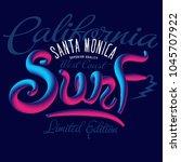 santa monica surf california... | Shutterstock .eps vector #1045707922