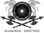 viking shield with axe vector... | Shutterstock .eps vector #104571422