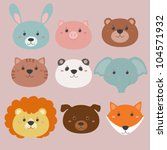 set of animals heads | Shutterstock .eps vector #104571932