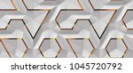 3d white panels with red gold... | Shutterstock . vector #1045720792