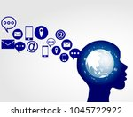 business software and social... | Shutterstock .eps vector #1045722922