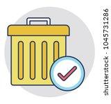 a trash bin with tick mark... | Shutterstock .eps vector #1045731286