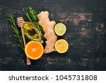 mint  lime  ginger and lemon....   Shutterstock . vector #1045731808