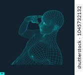 man in a thinker pose. 3d model ... | Shutterstock .eps vector #1045732132