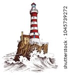 lighthouse and sea. marine... | Shutterstock .eps vector #1045739272