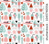 vector seamless pattern on a... | Shutterstock .eps vector #1045740556