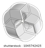 abstract curved vector shape... | Shutterstock .eps vector #1045742425