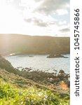 ireland coast  antrim  northern ... | Shutterstock . vector #1045745866