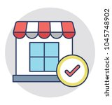 a shop with tick mark concept... | Shutterstock .eps vector #1045748902