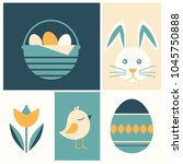happy easter vector card | Shutterstock .eps vector #1045750888