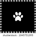 white animal pawprint icon... | Shutterstock . vector #1045751395