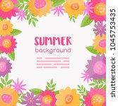 vector meadow flowers frame.... | Shutterstock .eps vector #1045753435