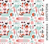 vector seamless pattern with a... | Shutterstock .eps vector #1045753936