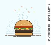 fast food vector burger | Shutterstock .eps vector #1045753948