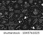 old school tattoos seamles... | Shutterstock .eps vector #1045761025