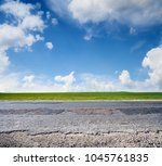 asphalt country road and blue... | Shutterstock . vector #1045761835