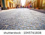cobblestone street in colorful...   Shutterstock . vector #1045761838