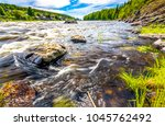 forest river water scene. river ... | Shutterstock . vector #1045762492