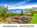 mountain forest river panoramic ... | Shutterstock . vector #1045762576