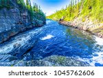 mountain forest river landscape | Shutterstock . vector #1045762606