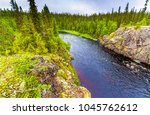 mountain forest river top view... | Shutterstock . vector #1045762612