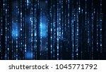 columns of blue hex digital... | Shutterstock . vector #1045771792
