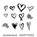 set of ten outline hand drawn... | Shutterstock .eps vector #1045772452