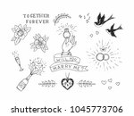 set of hand drawn traditional... | Shutterstock .eps vector #1045773706