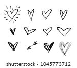 set of outline hand drawn heart ... | Shutterstock .eps vector #1045773712