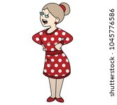 angry woman yelling. grimace on ... | Shutterstock .eps vector #1045776586