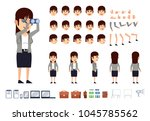 business woman creation kit....   Shutterstock .eps vector #1045785562