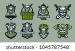 a set of emblems  badges  logos ... | Shutterstock .eps vector #1045787548