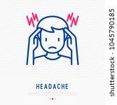 headache  migraine thin line... | Shutterstock .eps vector #1045790185
