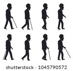 aged person with cane long thin ... | Shutterstock .eps vector #1045790572