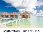 luxury beach villa in maldives... | Shutterstock . vector #1045793416