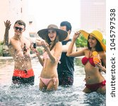 pool party concept  happy group ... | Shutterstock . vector #1045797538
