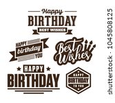 happy birthday stamp vector | Shutterstock .eps vector #1045808125