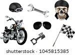 vector set of  bikers elements.  | Shutterstock .eps vector #1045815385