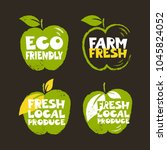 set of green colored labels in... | Shutterstock .eps vector #1045824052