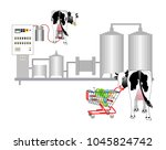 production of cow's milk.... | Shutterstock .eps vector #1045824742
