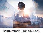 the double exposure image of... | Shutterstock . vector #1045831528