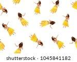 seamless pattern with hawaiian... | Shutterstock .eps vector #1045841182