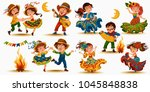 young women dancing salsa on... | Shutterstock .eps vector #1045848838