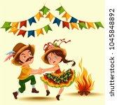 young couple man woman dancing... | Shutterstock .eps vector #1045848892