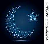 polygonal design gold half moon ... | Shutterstock .eps vector #1045851328