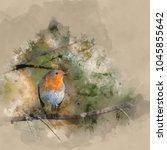 digital watercolor painting of... | Shutterstock . vector #1045855642