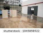 epoxy floor in warehouse... | Shutterstock . vector #1045858522