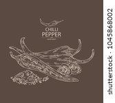 chilli pepper  a piece of hot... | Shutterstock .eps vector #1045868002